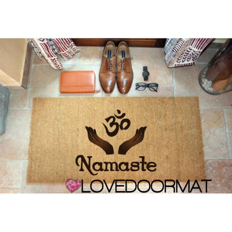 Custom indoor doormat - Namaste - in natural coconut LOVEDOORMAT Registered Trademark Handmade in Italy