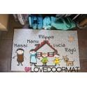"Custom outdoor doormat ""Fumetto Famiglia e Nomi "" in Pvc cocco gomma cm. 100x60x1,4 LOVEDOORMAT Marchio Registrato Handmade in Italy"