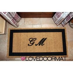Personalisierte Fußmatte für den Innenbereich - Ihre Initialen im Rahmen - aus natürlicher Kokosnuss