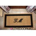 Custom indoor doormat - Your initials in frame - in natural coconut cm. 100x50x2 OVEDOORMAT Registered Trademark Handmade in Italy