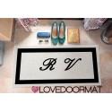 "Custom outdoor doormat ""Tue iniziali in cornice"" in Pvc cocco gomma cm. 100x60x1,4 LOVEDOORMAT Marchio Registrato Handmade in Italy"