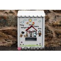 """Personalized mailbox """"Cartoon Family"""" in painted steel cm. 30x21x6 LOVEDOORMAT Registered trademark Handmade in Italy"""