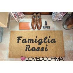 Custom indoor doormat - Text and border - in natural coconut cm. 100x50x2 OVEDOORMAT Registered Trademark Handmade in Italy