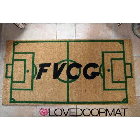 Custom indoor doormat - Initials and Soccer Field - in natural coconut cm. 100x50x2 OVEDOORMAT Registered Trademark Handmade in