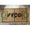 Custom indoor doormat - Initials and Soccer Field - in natural coconut cm. 100x50x2 OVEDOORMAT Registered Trademark Handmade in Italy