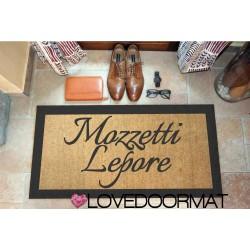 Custom indoor doormat - 2 Lines and border - in natural coconut LOVEDOORMAT Registered Trademark Handmade in Italy