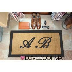 Custom indoor doormat - Your initials and border - in natural coconut cm. 100x50x2 OVEDOORMAT Registered Trademark Handmade in I
