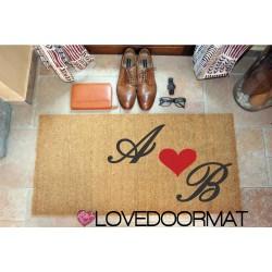 Custom indoor doormat - Your Initials and Heart - in natural coconut  OVEDOORMAT Registered Trademark Handmade in Italy