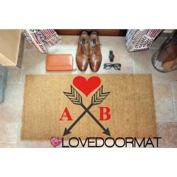 Custom indoor doormat - Your Initials Heart and Arrows - in natural coconut cm. 100x50x2 OVEDOORMAT Registered Trademark Handmad