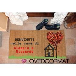 Custom indoor doormat - Heart Tree House - in natural coconut  LOVEDOORMAT Registered Trademark Handmade in Italy