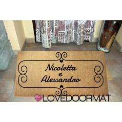 Custom indoor doormat - Your Damion Text - in natural coconut LOVEDOORMAT Registered Trademark Handmade in Italy
