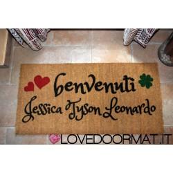Custom indoor doormat - Four Leaf Clover Hearts Names - in natural coconut LOVEDOORMAT Registered Trademark Handmade in Italy
