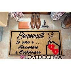 Custom indoor doormat - The home is... - in natural coconut LOVEDOORMAT Registered Trademark Handmade in Italy