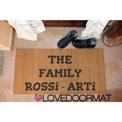 Custom indoor doormat - The Family- in natural coconut LOVEDOORMAT Registered Trademark Handmade in Italy
