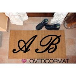 Custom indoor doormat - Family Surname and Edging- in natural coconut LOVEDOORMAT Registered Trademark Handmade in Italy