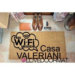 Custom indoor doormat - Free Wi-Fi Inside - in natural coconut cm. 100x50x2 LOVEDOORMAT Registered Trademark Handmade in Italy