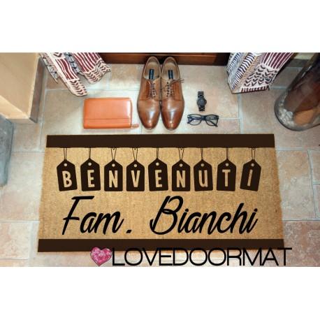 Custom indoor doormat - Welcome Tag - in natural coconut LOVEDOORMAT Registered Trademark Handmade in Italy