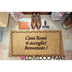 Zerbino Personalizzato da interno - Cornice Augurale - in cocco naturale cm. 100x50x2 LOVEDOORMAT Marchio Registrato Handmade in Italy