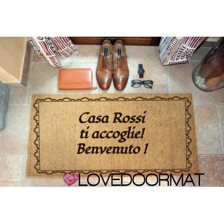 Custom indoor doormat - Greeting Frame - in natural coconut LOVEDOORMAT Registered Trademark Handmade in Italy