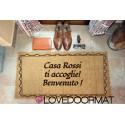 Custom indoor doormat - Greeting Frame - in natural coconut cm. 100x50x2 LOVEDOORMAT Registered Trademark Handmade in Italy