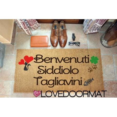 Custom indoor doormat - Cat Hearts Four Leaf Clover Names - in natural coconut LOVEDOORMAT Registered Trademark Handmade in Ital