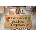 Custom indoor doormat - Cat Hearts Four Leaf Clover Names - in natural coconut cm. 100x50x2 LOVEDOORMAT Registered Trademark Handmade in Italy