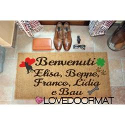Kundenspezifische Innenfußmatte - Hund Hearts Four Leaf Clover Namen - natürliche Kokosnuss cm. 100x50x2 LOVEDOORMAT Eingetragenes Warenzeichen Handgefertigt in Italieny