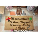 Custom indoor doormat - Dog Hearts Four Leaf Clover Names - in natural coconut cm. 100x50x2 LOVEDOORMAT Registered Trademark Handmade in Italy