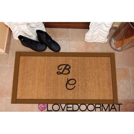 Custom indoor doormat - Style frame - in natural coconut LOVEDOORMAT Registered Trademark Handmade in Italy