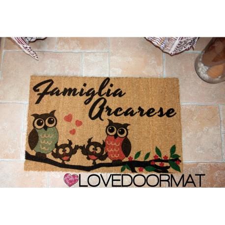 Custom indoor doormat - Owls family - in natural coconut LOVEDOORMAT Registered Trademark Handmade in Italy