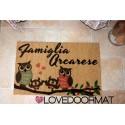 Custom indoor doormat - Owls family - in natural coconut cm. 100x50x2 LOVEDOORMAT Registered Trademark Handmade in Italy