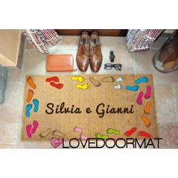 Kundenspezifische Innenfußmatte - Fußabdrücke und Text - natürliche Kokosnuss cm. 100x50x2 LOVEDOORMAT Eingetragenes Warenzeichen Handgefertigt in Italieny