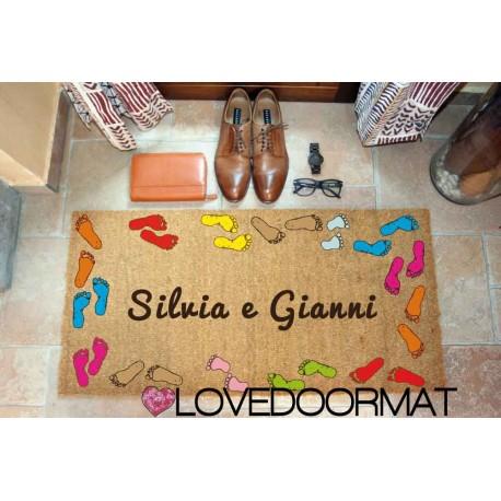 Custom indoor doormat - Footprints and Text - in natural coconut LOVEDOORMAT Registered Trademark Handmade in Italy
