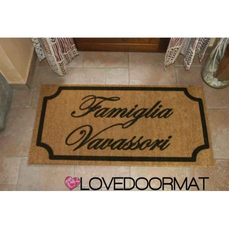 Custom indoor doormat - Very Classic - in natural coconut LOVEDOORMAT Registered Trademark Handmade in Italy