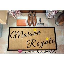 Paillasson d'intérieur personnalisé - Maison Royale - noix de coco naturelle cm. 100x50x2 LOVEDOORMAT Marque déposée à la main en Italie