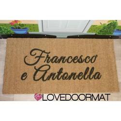 Kundenspezifische Innenfußmatte - 2 Namen - natürliche Kokosnuss cm. 100x50x2 LOVEDOORMAT Eingetragenes Warenzeichen Handgefertigt in Italieny