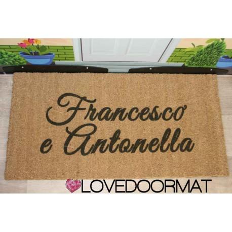 Custom indoor doormat - 2 Names - in natural coconut LOVEDOORMAT Registered Trademark Handmade in Italy