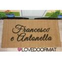 Custom indoor doormat - 2 Names - in natural coconut cm. 100x50x2 LOVEDOORMAT Registered Trademark Handmade in Italy