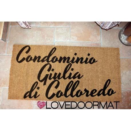 Custom indoor doormat - Condominium name - in natural coconut LOVEDOORMAT Registered Trademark Handmade in Italy