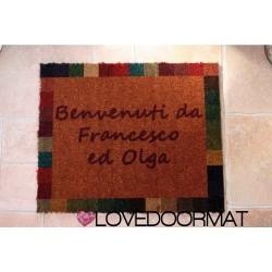 Custom indoor doormat - Mosaic frame - in natural coconut cm. 100x50x2 LOVEDOORMAT Registered Trademark Handmade in Italy