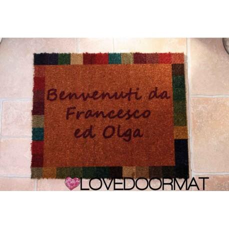 Custom indoor doormat - Mosaic frame - in natural coconut LOVEDOORMAT Registered Trademark Handmade in Italy
