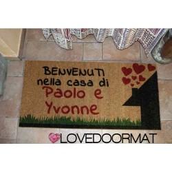 Paillasson d'intérieur personnalisé - Bienvenue dans la maison de - noix de coco naturelle cm. 100x50x2 LOVEDOORMAT Marque déposée à la main en Italie