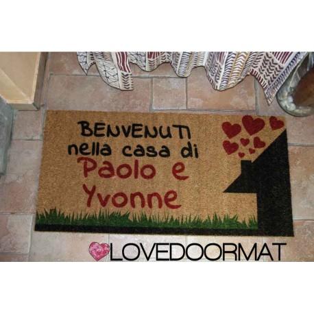 Custom indoor doormat - Welcome to the home of - in natural coconut LOVEDOORMAT Registered Trademark Handmade in Italy