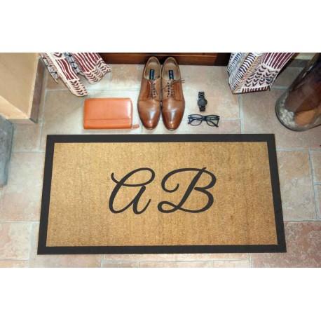 Custom indoor doormat - 2 Initials and Borders - in natural coconut LOVEDOORMAT Registered Trademark Handmade in Italy