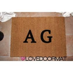 Paillasson d'intérieur personnalisé - Tes initiales - noix de coco naturelle cm. 100x50x2 LOVEDOORMAT Marque déposée à la main en Italie