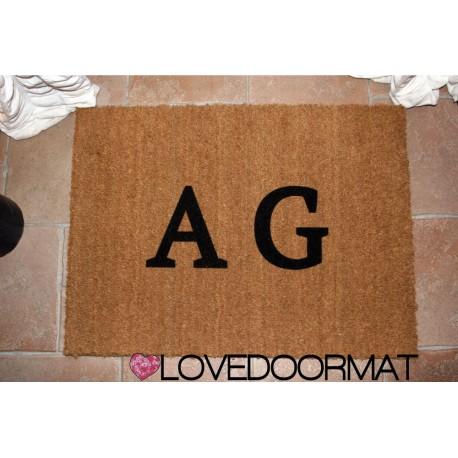 Custom indoor doormat - Your Initials - in natural coconut LOVEDOORMAT Registered Trademark Handmade in Italy