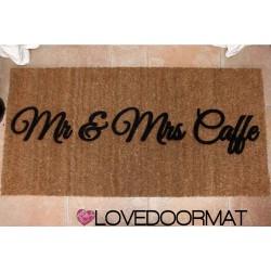 Custom indoor doormat - Mr. & Mrs. Your Names - in natural coconut cm. 100x50x2 LOVEDOORMAT Registered Trademark Handmade in Italy