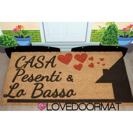 Custom indoor doormat - House Name Hearts - in natural coconut LOVEDOORMAT Registered Trademark Handmade in Italy