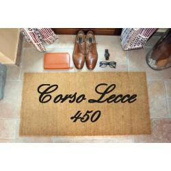 Custom indoor doormat - Your address - in natural coconut cm. 100x50x2 LOVEDOORMAT Registered Trademark Handmade in Italy