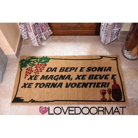 Custom indoor doormat - Frame Bunches Grapes, Wine, Your Text - in natural coconut LOVEDOORMAT Registered Trademark Handmade in